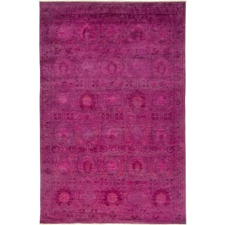"Pink Over Dyed Hand Knotted Rug- 6' 2"" x 9' 4"""