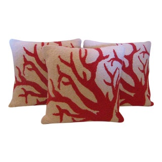 Hooked Pillows With Red Coral Design - Set of 3