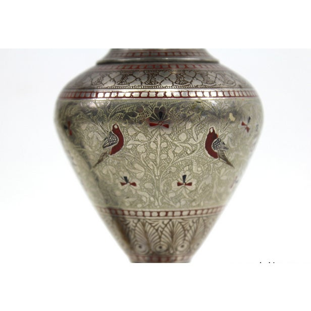 1930s Bohemian Metal Inlaid Vase Set - A Pair - Image 5 of 6
