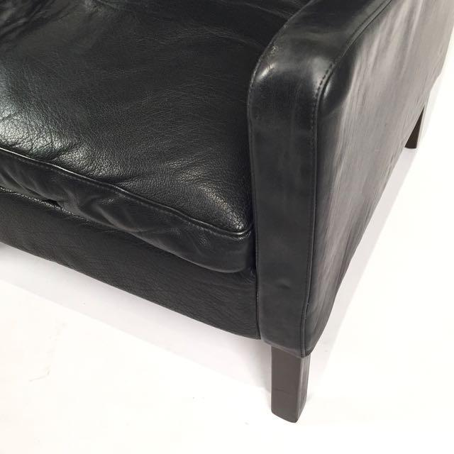 Vintage Danish Black Leather High Back Chair & Ottoman - Image 3 of 5
