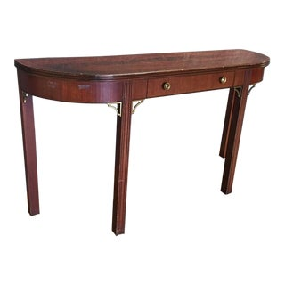 Wooden Console Table W/ Brass Details