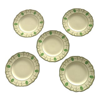 Georgian Motif Green Dessert Plates - Set of 5