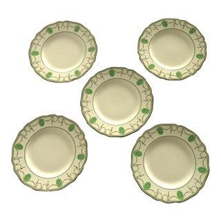 Georgian Motif Green Dessert Plates - Set of 5