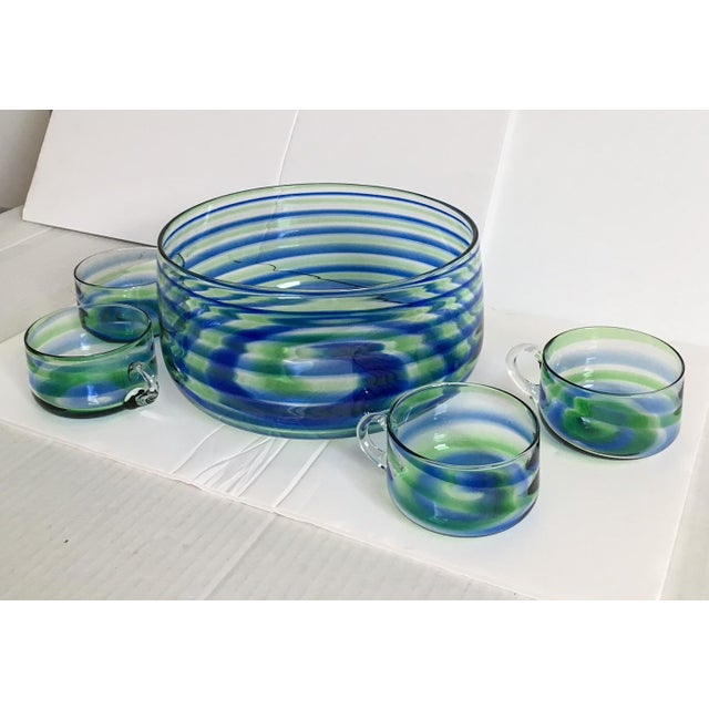 Mid-Century Artisanal Glass Swirl Punch Bowl Set - Set of 5 - Image 5 of 6