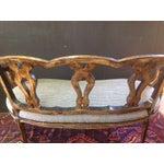 Image of Vintage Black and Natural Wood Settee