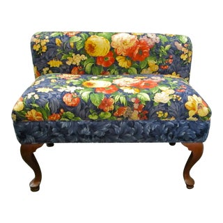 Queen Anne Floral Upholstered Settee