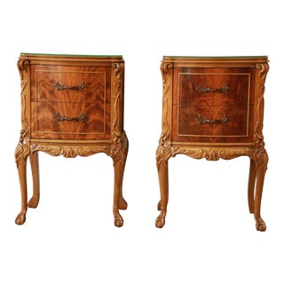 Vintage French Chippendale Flame Mahogany Nightstands - A Pair