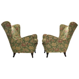 Italian Wing Back Lounge Chairs - A Pair