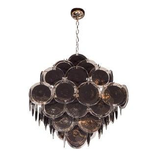 Ultra Chic Modernist Diamond Shaped Black Murano Glass Chandelier by Vistosi