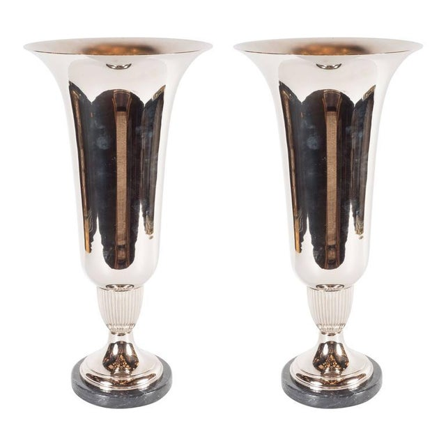 Elegant French Art Deco Marble and Chrome Uplights - Image 7 of 7