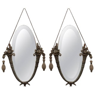 Antique Art Nouveau Hanging Mirrors- A Pair