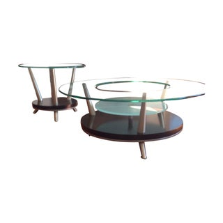 Round Glass Coffee Table & End Table Set