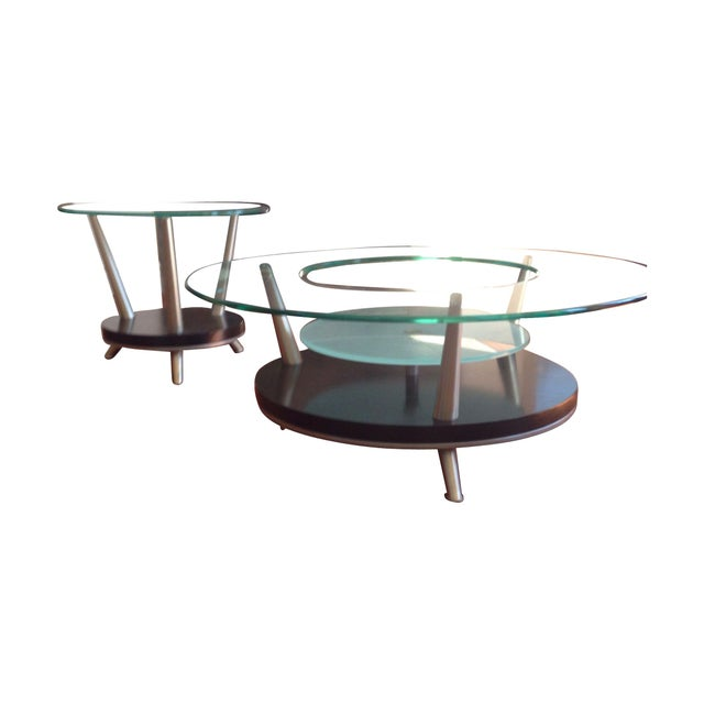 Round Glass Coffee Table End Table Set Chairish