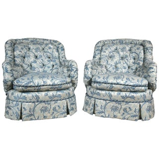 Custom Tufted Barrel Back Chairs - Pair