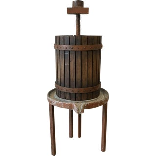 French Antique Rustic Oak Vineyard Wine Press