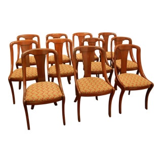 Baker Empire Style Mahogany Dining Room Chairs - Set of 11