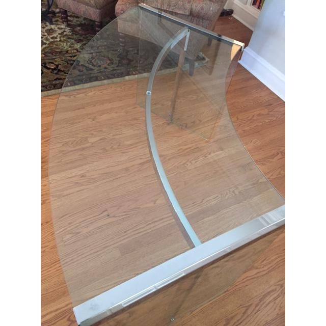 DIA Curved Glass & Chromed Steel Writing Desk - Image 3 of 10