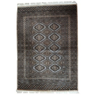 1970s Hand Made Vintage Uzbek Bukhara Rug - 4′1″ × 5′9″
