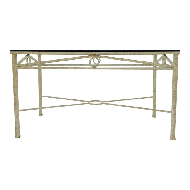 Metal console table with glass top chairish for Metal console tables glass top