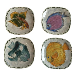 Vintage French Fish Plates - Set of 4