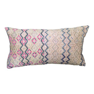 Antique Pink & Tan Southeast Asian Wedding Quilt Pillow