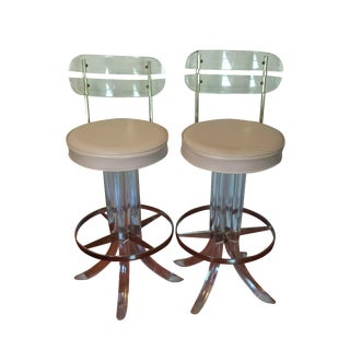 Swivel Lucite and Brass Bar Stools - A Pair