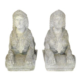 Pair Egyptian Revival Carved Stone Garden Sphinx