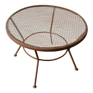 1950s Vintage Mid-Century Wire Mesh Patio Round Table Furniture
