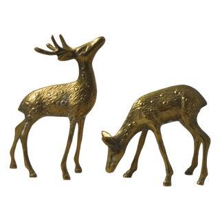 English Brass Deer Figurines - A Pair