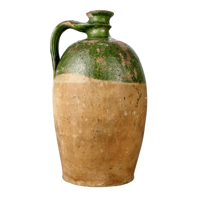 Green Terra Cotta : Large french terra cotta and green glazed jug chairish