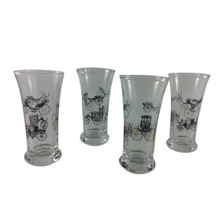Mid-Century Tall Shot Glasses Carriage Design S/4
