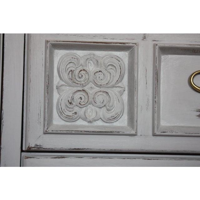 Carved Wood Detailed Gray Dresser - Image 7 of 11