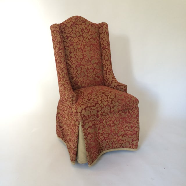 Red & Gold Brocade Dining Chairs - A Pair - Image 3 of 8