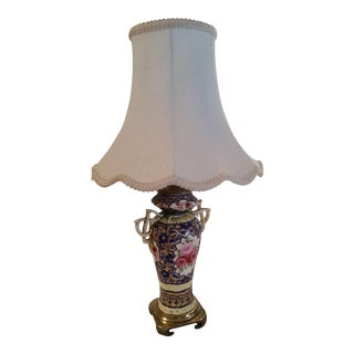 Antique Roses Pattern Brass Base Porcelain Table Lamp