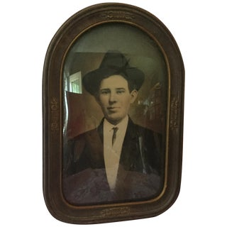 Antique Convex Glass Handsome Gent Portrait