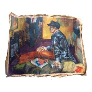 Vintage Mid-Century Modern Style Oil Painting on Burlap