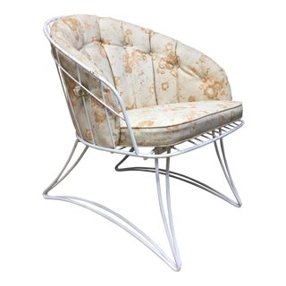 Mid Century Modern White Homecrest Metal Patio Chair