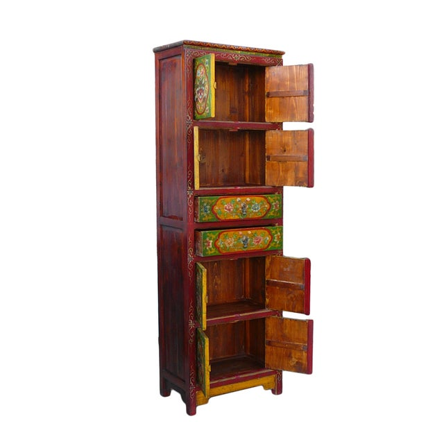 Chinese Tibetan Green Red Dragon Slim Cabinet - Image 5 of 6