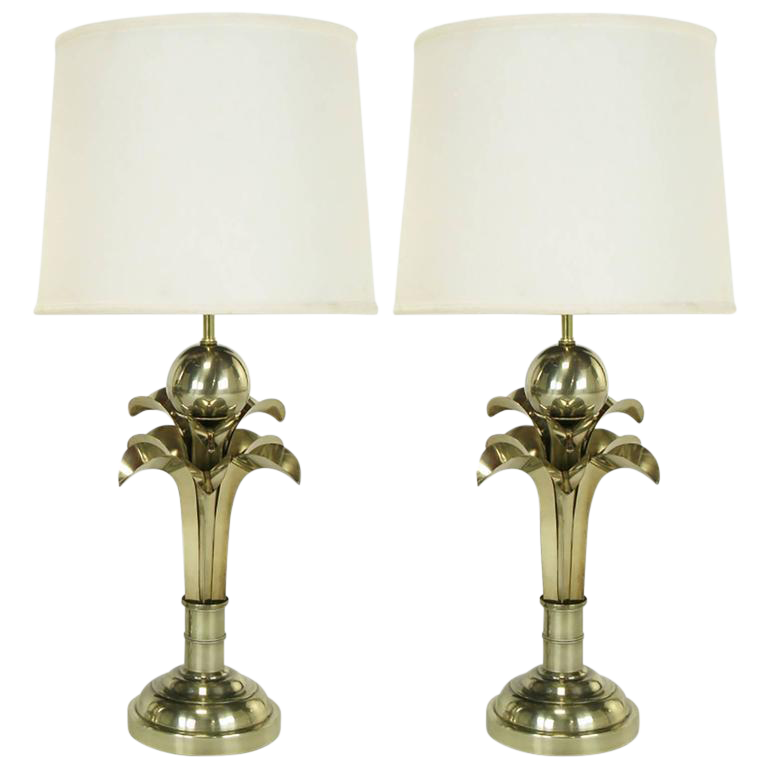 Pair Of Art Deco Revival Gold Metal Palm Tree Table Lamps   Image 1 Of 6
