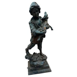 French Cast Iron Boy & Calf Garden Statue