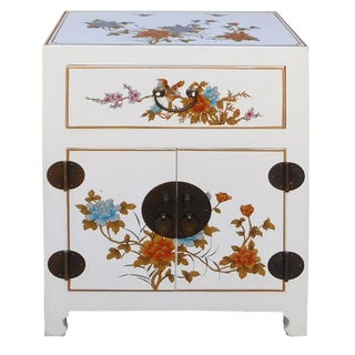 Chinese Floral Nightstand in Off-White