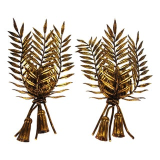 French Gilded Tole Leaf Sconces - A Pair