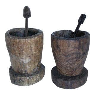 Antique Wooden Morteros- Mortars
