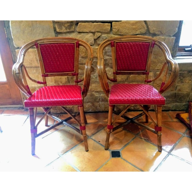 Vintage Woven French Bistro Chairs - Set of 6 - Image 3 of 11