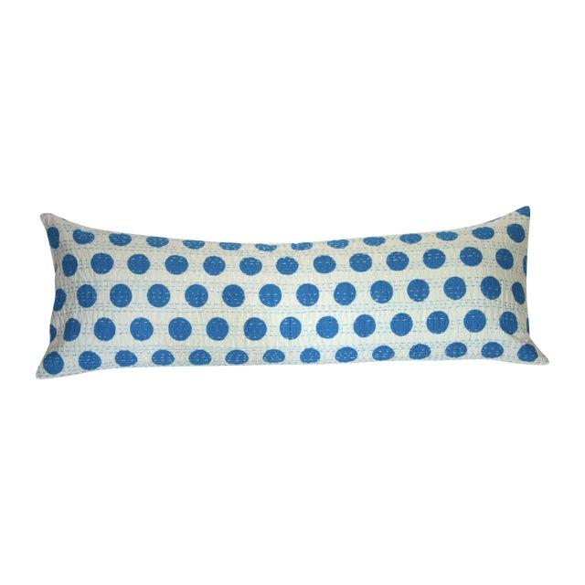 Blue Kantha Polka Dot Pillow - Image 1 of 3