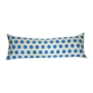 Blue Kantha Polka Dot Pillow