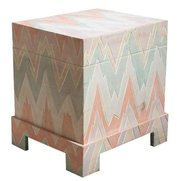 Pastel Geometric Wooden Storage Box - Image 1 of 6
