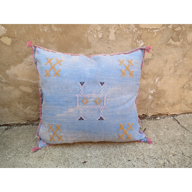 Moroccan Blue Sabra Cactus Silk Pillow - Image 2 of 4
