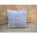 Image of Moroccan Blue Sabra Cactus Silk Pillow