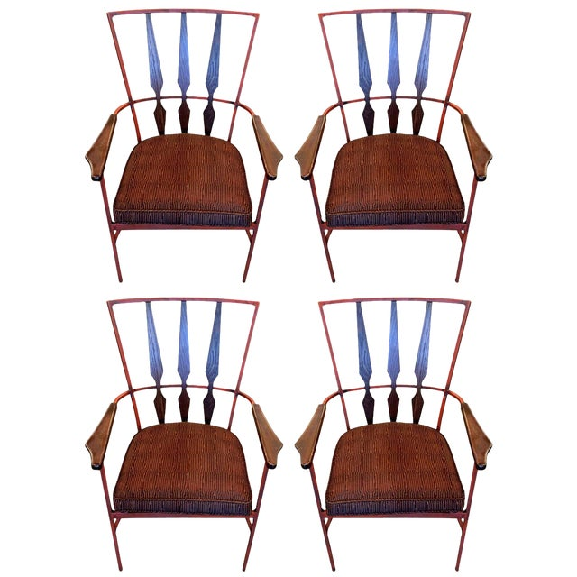 Set of Four Enameled Steel and Walnut Armchairs in the Manner of Salterini - Image 1 of 4